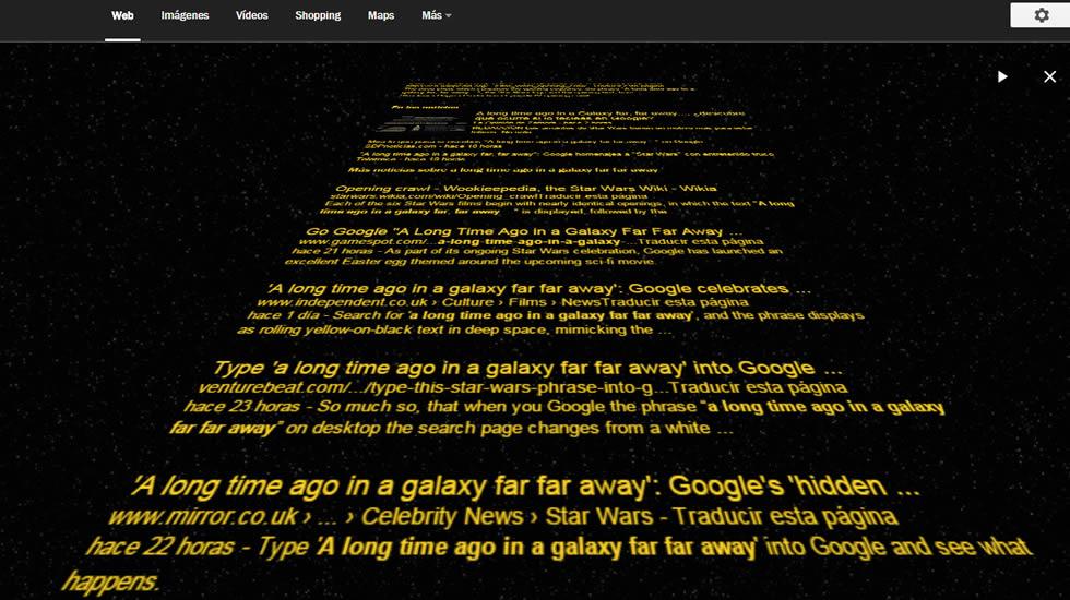 Qu pasa si tecleas en google hace mucho tiempo en una for En una galaxia muy muy lejana